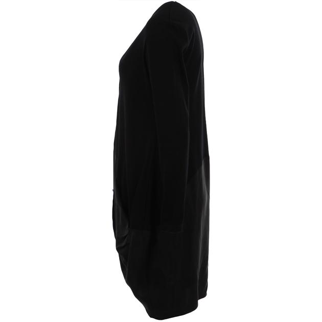 B Merino Longline Cardi Cupro Button - black