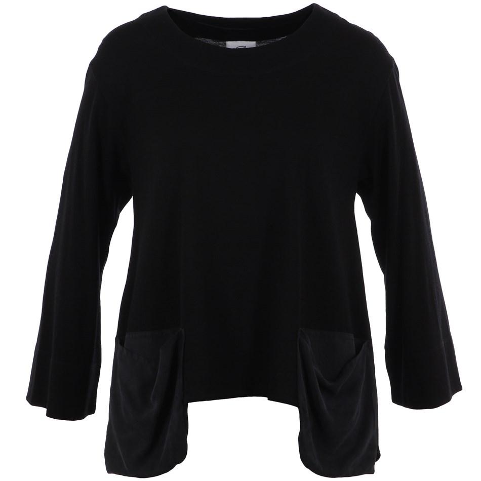 B Merino Swing Top Pocket Detail - black