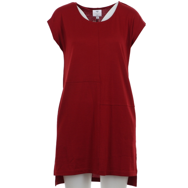 B Merino Tunic Split Hem - red ochre