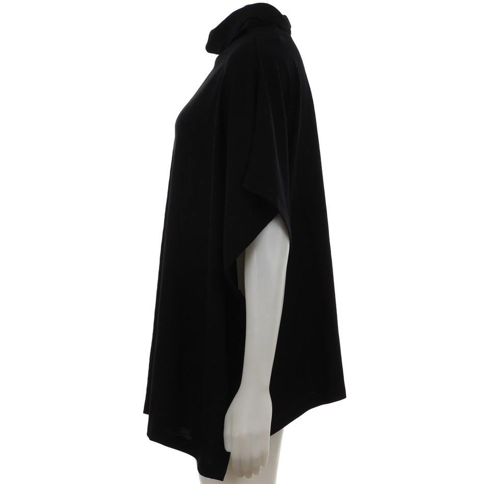 B Merino Poncho wCowl Button - black
