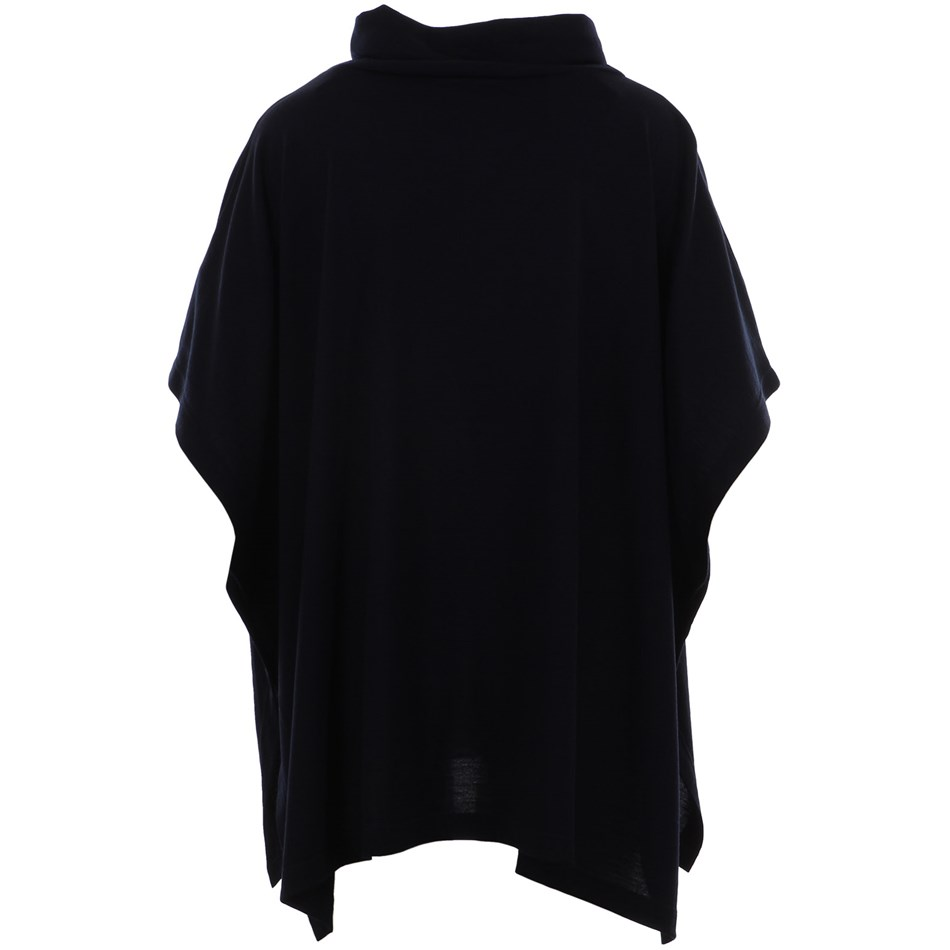 B Merino Poncho wCowl Button - navy