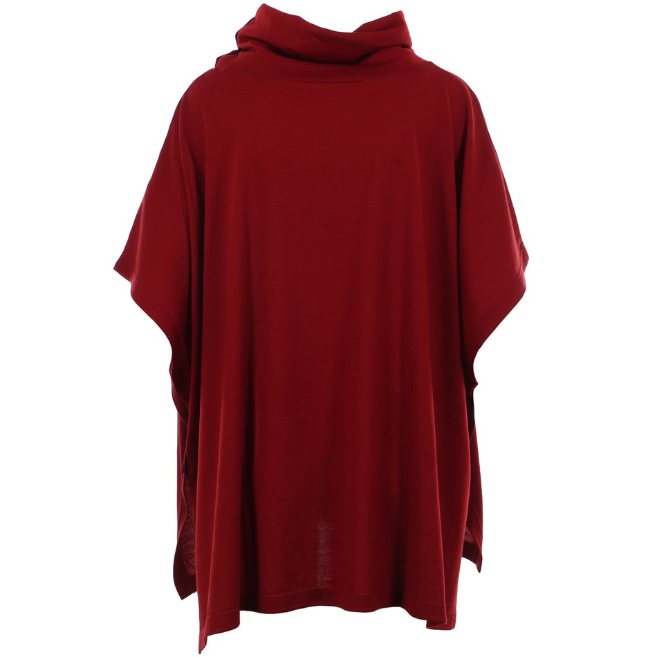 B Merino Poncho wCowl Button - red ochre