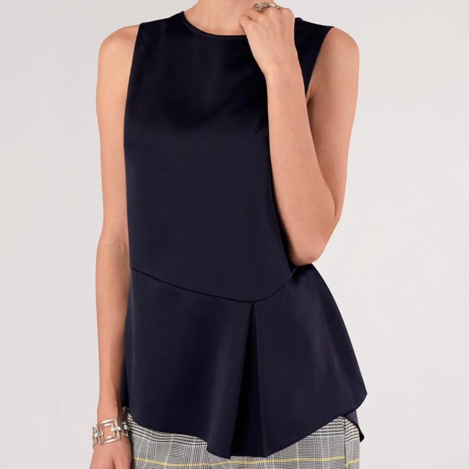 Closet Asymmetric Pleated Blouse - navy