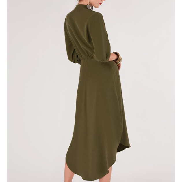 Closet Bishop Sleeve Shirt Dress - olive
