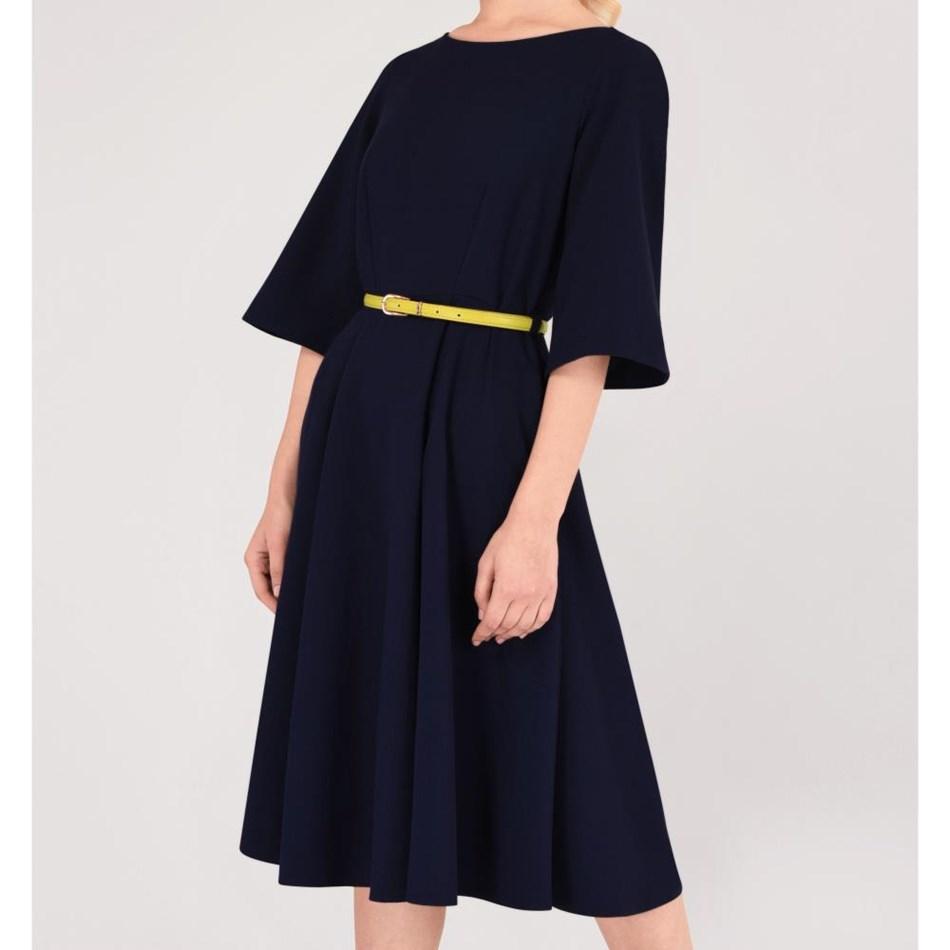Closet Bell Sleeve Full Skirt Dress - navy