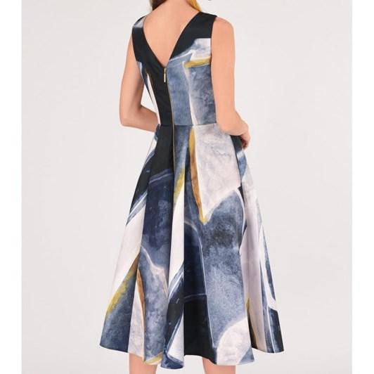 Closet Gold Panelled V-Back Dress