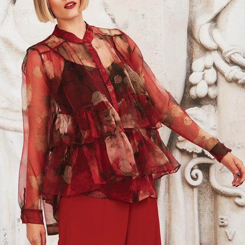 Trelise Cooper From Dusk Frill Dawn Shirt - red floral
