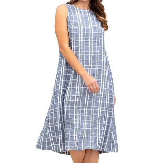 Yarra Trail Sleeveless Check Linen Dress