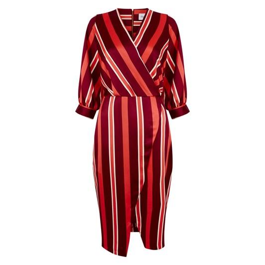 Closet Puff Sleeve Wrap Dress
