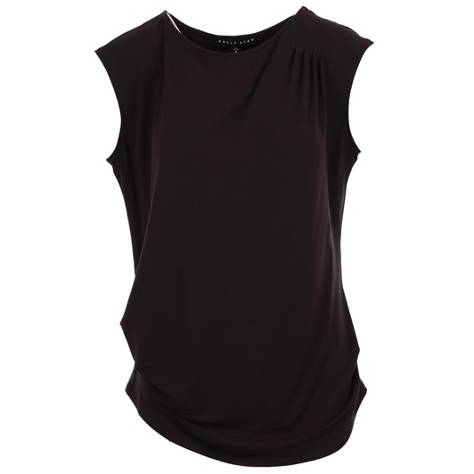 Paula Ryan Tuck Shoulder Side Ruched Sleeveless Top