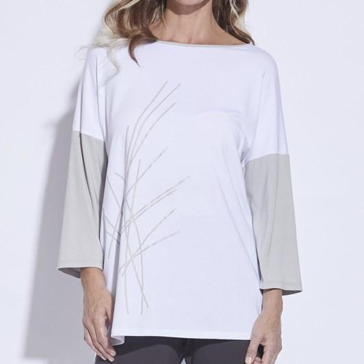 Paula Ryan Bamboo Print 3/4 Slv Top