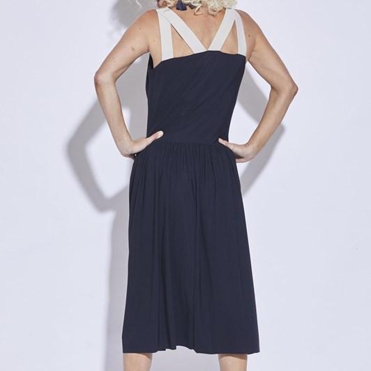 Paula Ryan Gathered Back Contrast Straps Dress
