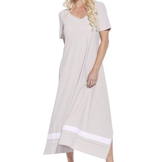 Paula Ryan Contrast Band A Line Short Sleeve Dress