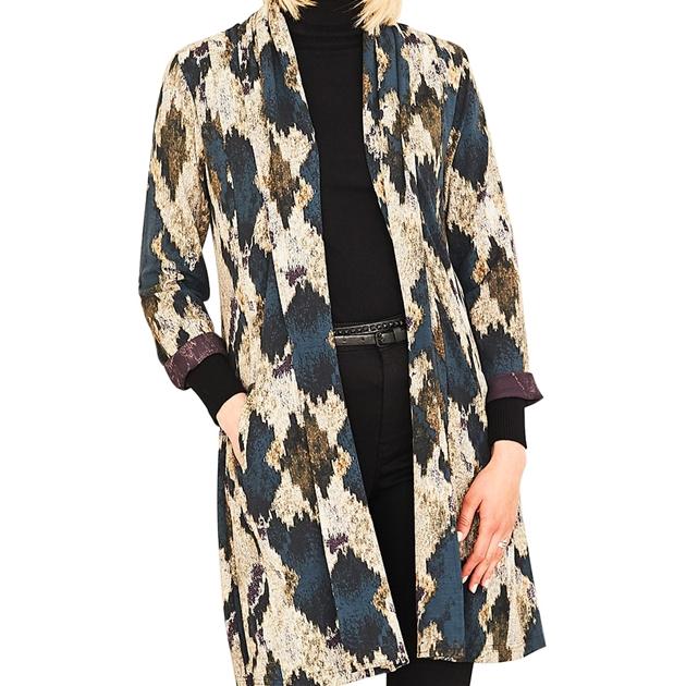 Adini Vivienne Driftwood Print Jacket - slate