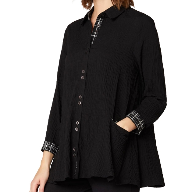 Sahara London Crinkle Viscose Shirt - black