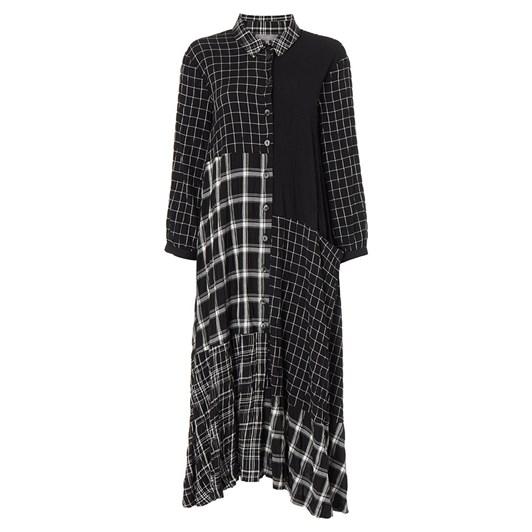 Sahara London Mono Patch Check Shirt Dress
