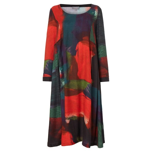 Sahara London Painterly Block Print Dress