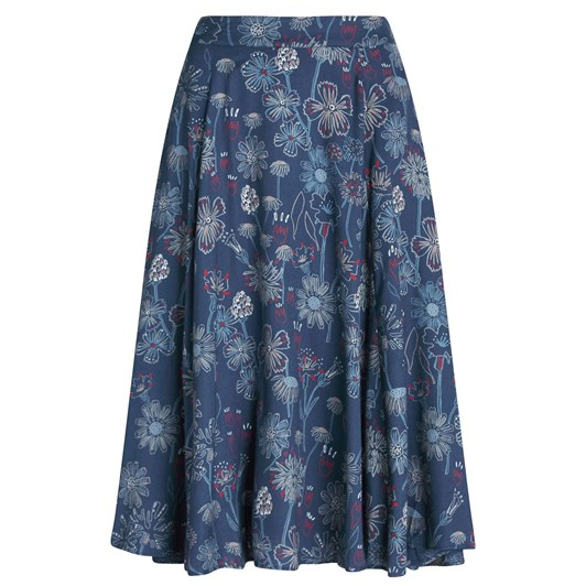 Seasalt River Adur Skirt Sketched Hedgerow Squall