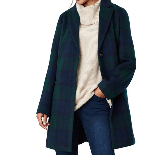 Joules Costello Check Wool Blend Easy Coat
