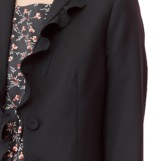 Rebecca Taylor Gabardine Suiting Ruffle Jacket