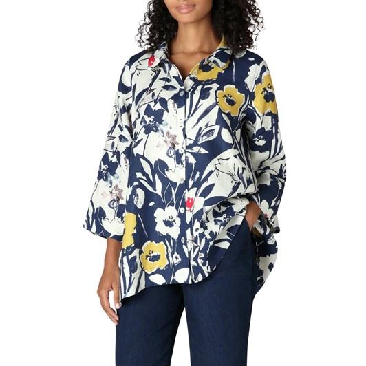 Sahara London Wild Flower Linen Print Shirt