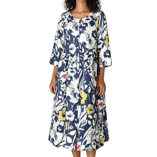 Sahara London Wild Flower Linen Shirt Dress