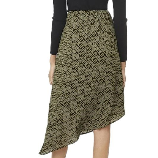 Compania Fantastica Dotted Print Skirt with Angled Hem