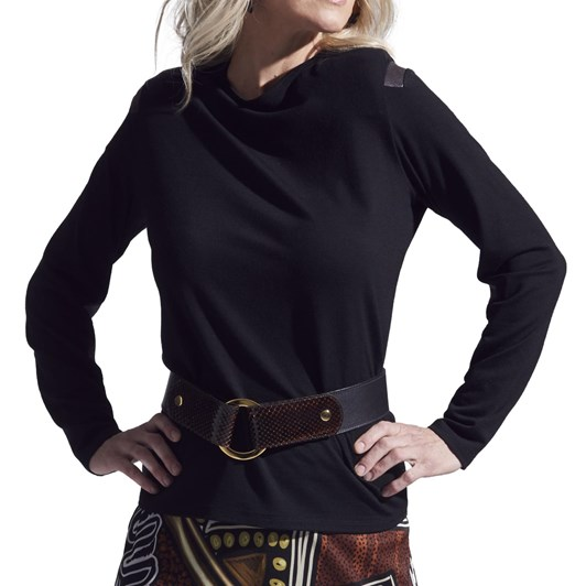 Paula Ryan Leather Patch Merino Top