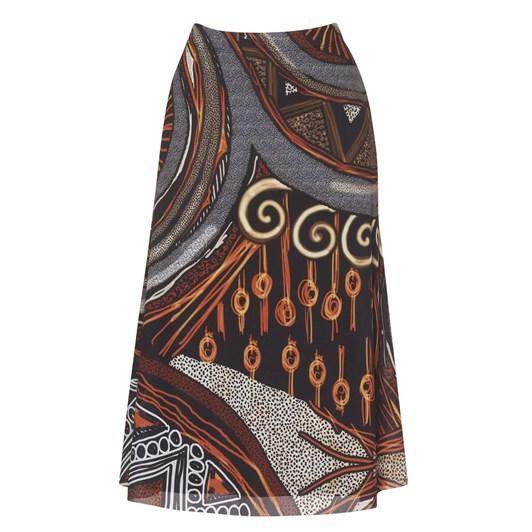 Paula Ryan Flute Hem Printed Mesh Skirt