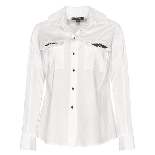 Paula Ryan High Collar Back Trim Shirt