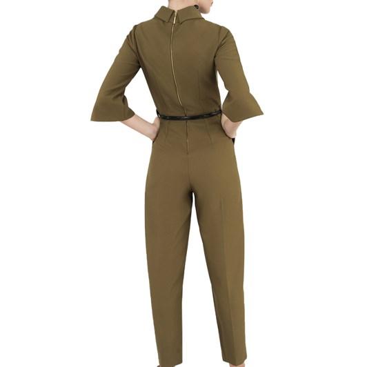 Closet Funnel Collar Jumpsuit With Belt