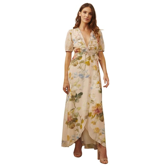 Hope & Ivy Plunge Front Maxi Dress with Neck Ruffle