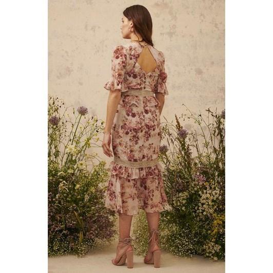 Hope & Ivy Peplum Waist Midi Dress With Trims