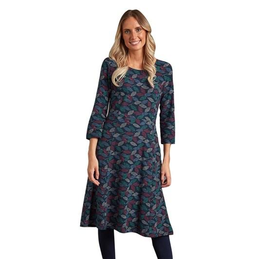 Adini Juliet Dress Textured Leaf Print