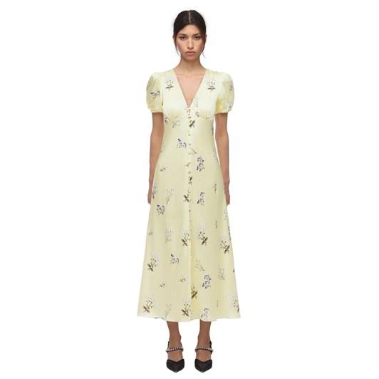 Self Portrait Yellow Vintage Floral Alyssa Midi Dress