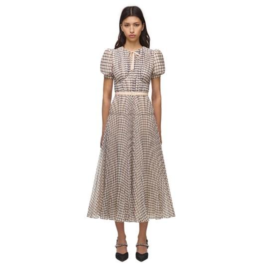 Self Portrait Monochrome Check Midi Dress