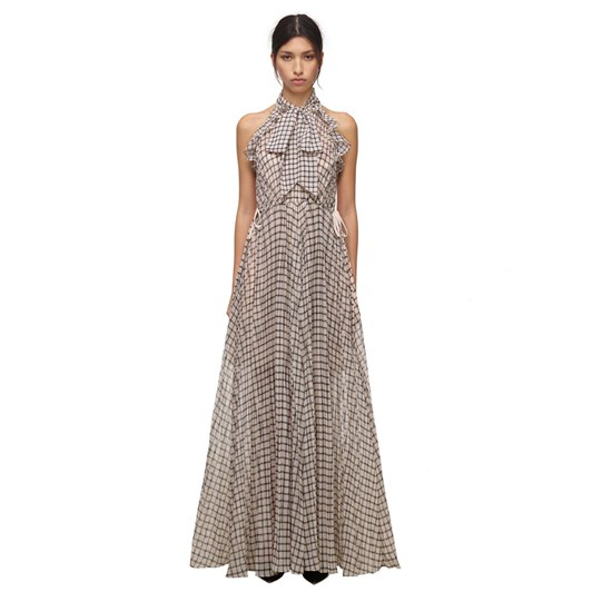 Self Portrait Monochrome Check Maxi Dress