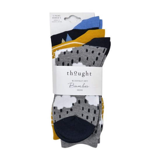 Thought Drizzle Bamboo Rainy Day Socks 3 Pack