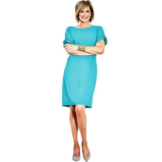 Paula Ryan Soft Dress With Ruched Sleeve