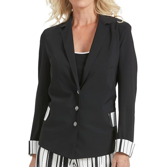 Paula Ryan Stripe Trim Boyfriend Jacket