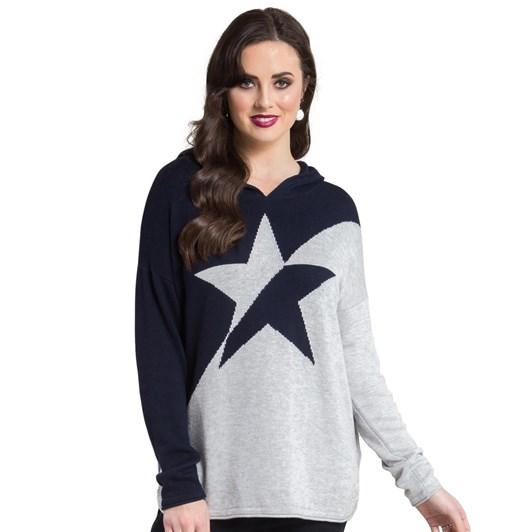 Vassalli Long Sleeve Knit Hoodie With Star Detail