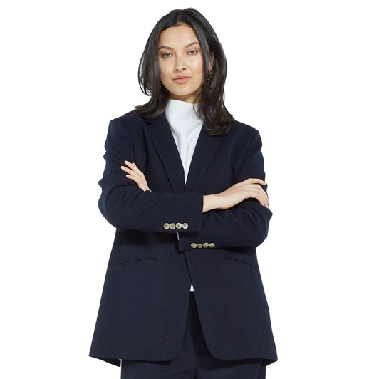 Caroline Sills The Boss Wool Blazer With Pinstripe Lining
