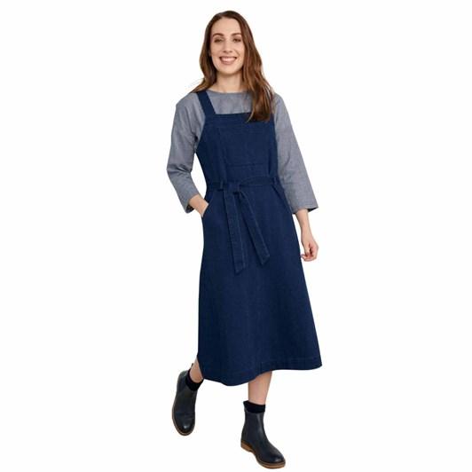 Seasalt Lantivet Pinafore Dress Dark Wash Indigo