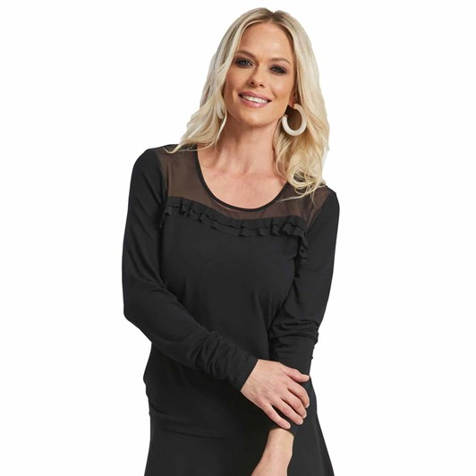 Paula Ryan Mesh Yoke Ruffle Top