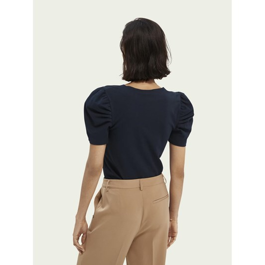 Maison Puffy Short Sleeve Tee With Square Neck