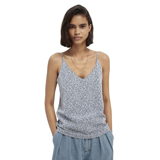 Maison Jersey Tank Top With Woven Front Panel