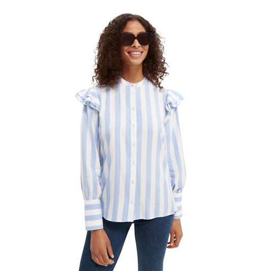 Maison Regular Fit Shirt With Ruffle At Sleeve