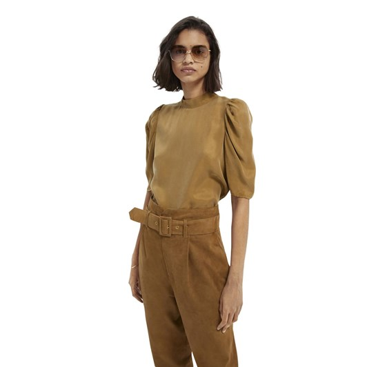 Maison Drapey Top With Gathered Short Sleeves