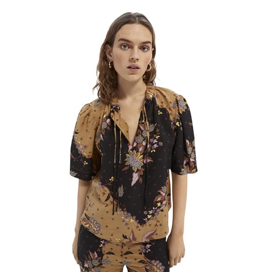 Maison Printed Top With Puffy Sleeves