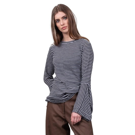 Mild Red Intersections Crew Neck Long Sleeve Top